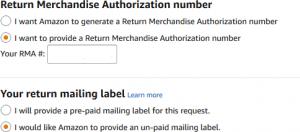 Amazon RMA iade etiket seçimi